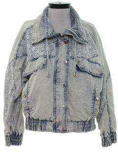 1980's Womens Totally 80s Acid Washed Oversized Fit Denim Jacket