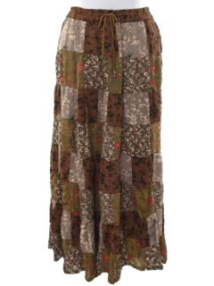 1990's Womens Patchwork Broomstick Hippie Skirt
