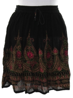 1990's Womens Broomstick Mini Hippie Skirt