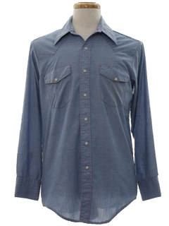 1970's Mens Western Chambray Work Shirt