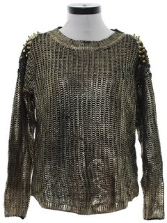 1990's Womens Wicked 90s Punk Studded Cocktail Sweater