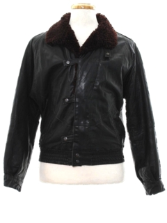 1980's Mens Totally 80s Leather Flight Style Jacket