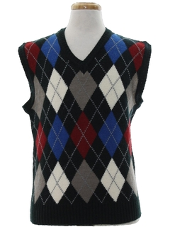 1980's Mens Preppy Totally 80s Argyle Sweater Vest