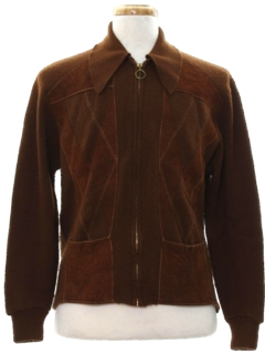 1970's Mens Mod Suede Leather Sweater Jacket