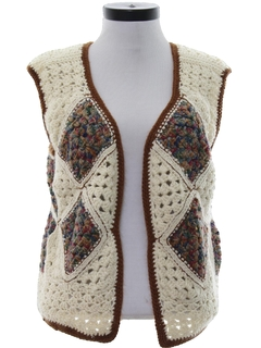 1970's Womens Hippie Crocheted Sweater Vest