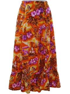 1980's Womens Hawaiian Style Square Dance Skirt