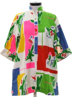 1970's Womens Designer Mod A-line Caftan Mini Dress