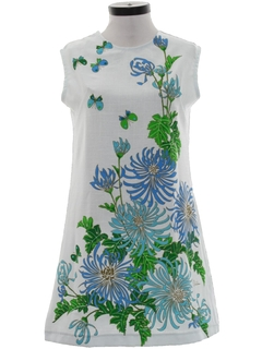 1970's Womens Mod A-Line Hawaiian Style Dress