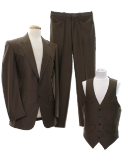 1970's Mens Sharkskin Western Three Piece Disco Suit