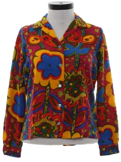 1960's Womens Pow-Flower Flannel Hippie Shirt