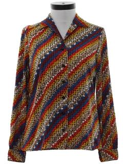 1960's Womens Print Disco Style Shirt
