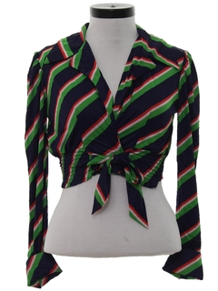 1970's Womens Cropped Print Disco Style Shirt