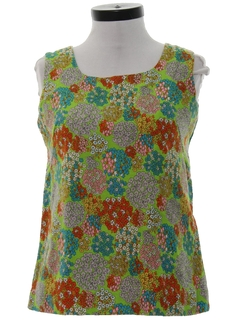 1960's Womens Mod Floral Hippie Style Shirt