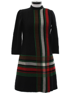 1970's Womens Wool Mod Designer Dress