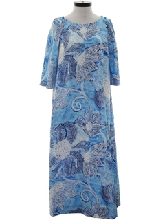 1970's Womens A-Line Hawaiian Dress