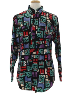 1980's Mens Geometric Print Totally 80s Western Shirt