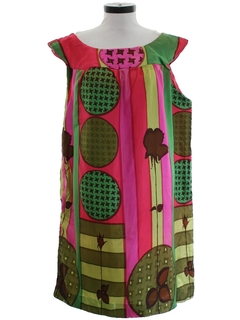 1960's Womens Mod A-Line Op-Art Print Dress