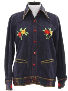 1970's Womens Western Style Denim Hippie Shirt