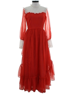 1970's Womens Edwardian Style Prom Or Cocktail Dress