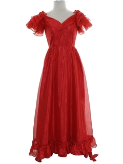 1980's Womens Totally 80s Prom Or Cocktail Maxi Dress