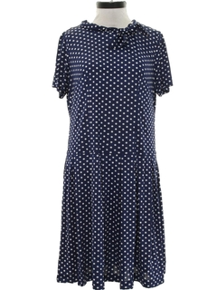 1950's Womens Mod Polka Drop Waist A-Line Dot Dress