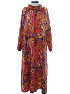 1960's Womens Mod A-Line Muu-Muu Style Caftan Dress