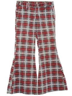 1960's Unisex Hippie Elephant Bells Bellbottom Corduroy Plaid Pants