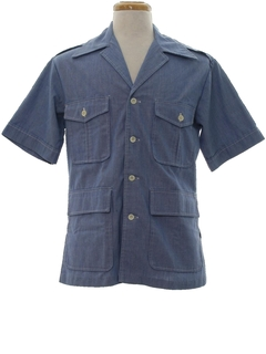 1970's Mens Mod Chambray Safari Shirt