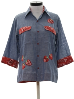 1970's Womens Mod Chambray Hippie Shirt