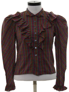 1980's Womens Totally 80s Ruffled Western Style Shirt