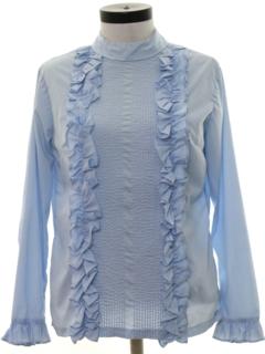 1970's Womens Ruffled Tuxedo Style Shirt