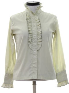 1960's Womens Ruffled Secretary Shirt