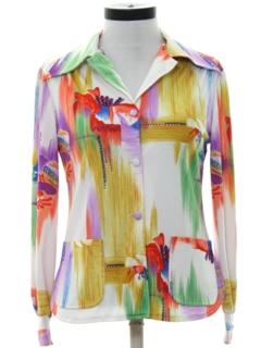 1970's Womens Designer Mod Op-Art Print Shirt Jacket