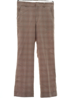 1970's Mens Flared Mod Plaid Disco Pants