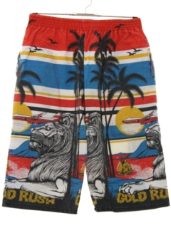 1980's Mens Totally 80s Print Baggy Long Board Shorts