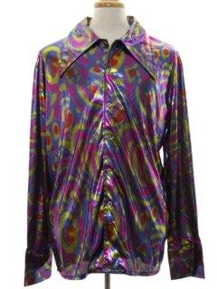 1990's Mens Print Disco Style Costume Club/Rave Shirt