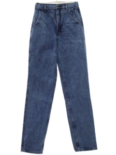 1980's Womens Totally 80s Overdyed Acid Wash Jeans Pants