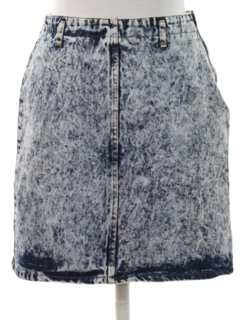 1980's Womens Totally 80s Acid Wash Denim Skirt