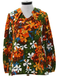 1960's Womens Mod Print Hippie Shirt