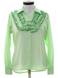 1970's Womens Ruffled Front Western Shirt