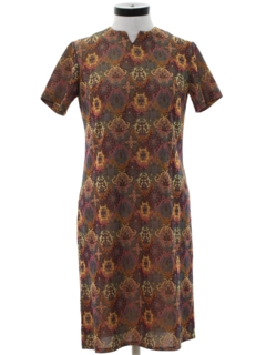 1970's Womens Mod Knit A-Line Dress