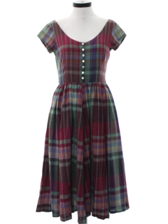 1980's Womens Totally 80s Preppy Day Dress