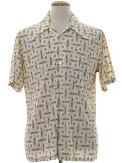 1970's Mens Mod Print Disco Style Sport Shirt
