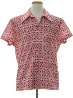 1970's Mens Mod Print Sport Shirt