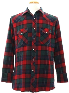1980's Mens Plaid Flannel Western Shirt