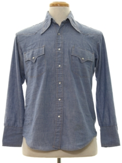 1970's Mens Chambray Hippie Style Western Shirt