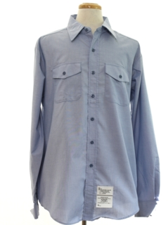 1980's Mens Navy Military Chambray Work Shirt