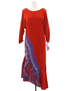 1990's Womens Designer Asymmetrical A-Line Maxi Dress