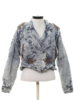 1980's Womens Totally 80s Designer Acid Washed Denim Jacket