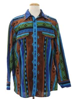 1990's Mens Southwestern Geometric Print Western Shirt